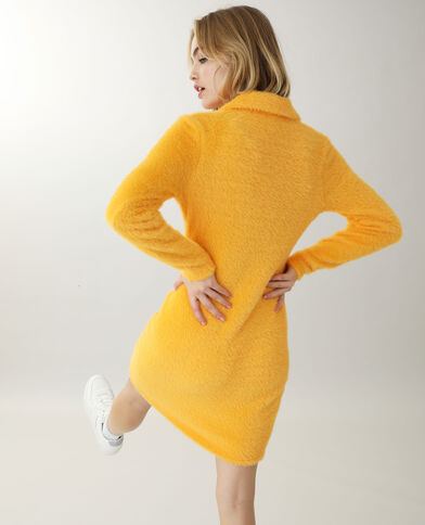 Robe maille poilue orange