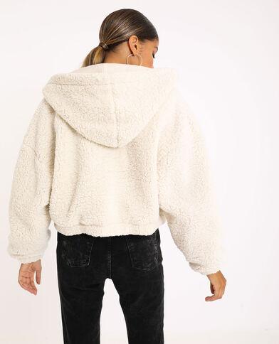 Kort jasje van imitatieschapenvacht gebroken wit
