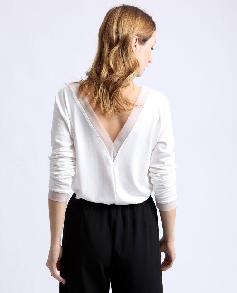 T-shirt à col V blanc cassé