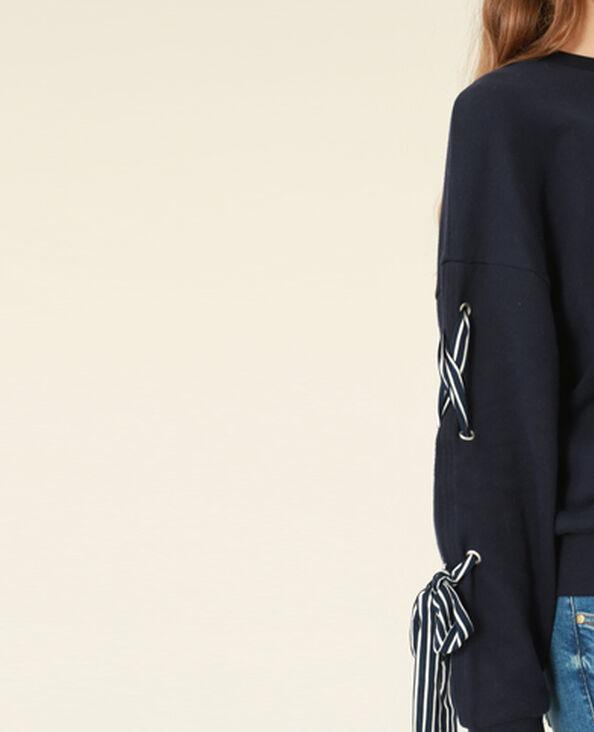 Sweater met lintjes marineblauw