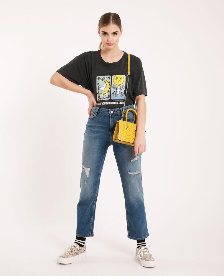 Straight-fit jeans met middelhoge taille denimblauw