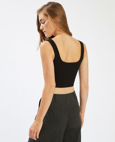 Korte top met dunne schouderbandjes zwart - Pimkie