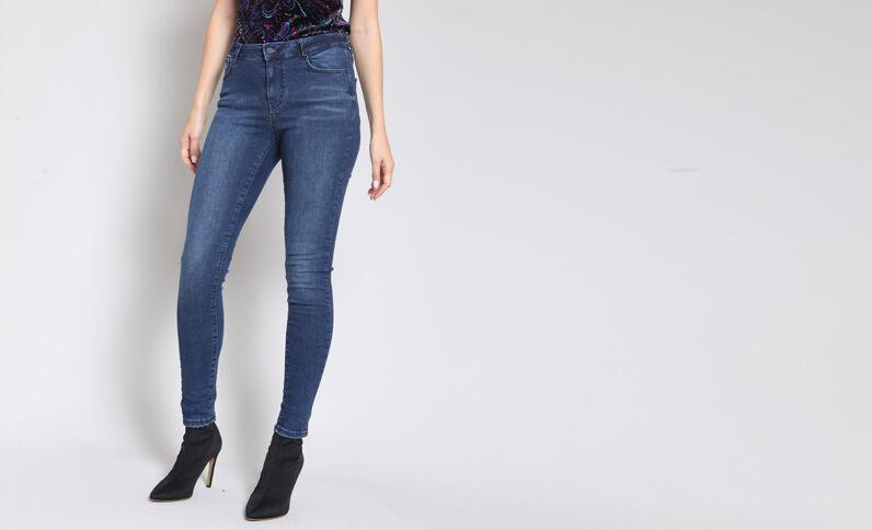 - Skinny jeans met middelhoge taille blauw