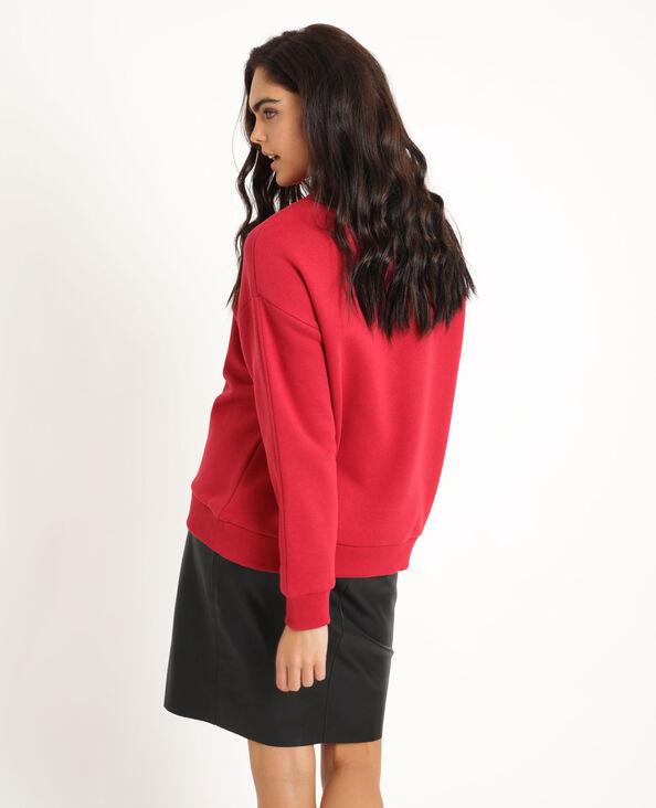 Oversized sweater met print rood