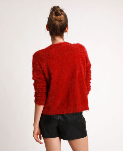 Fluffy vest rood
