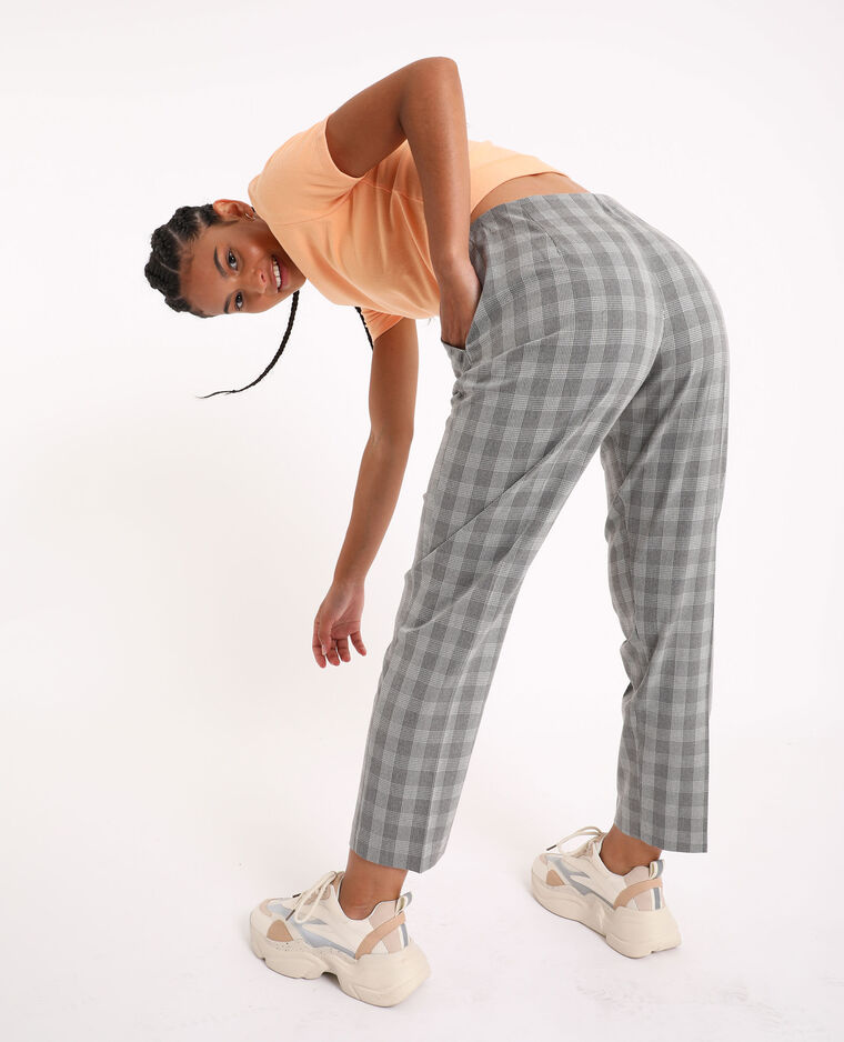 Pantalon à carreaux gris