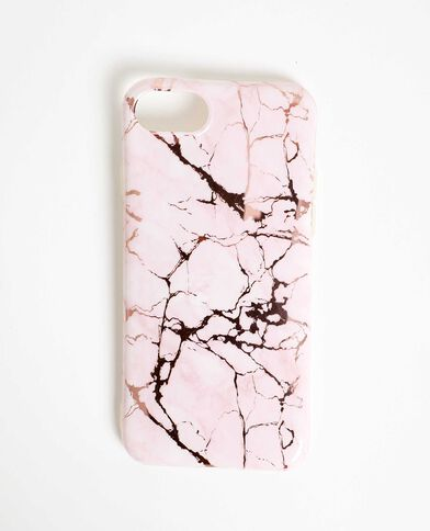 Coque compatible iPhone effet marbre rose