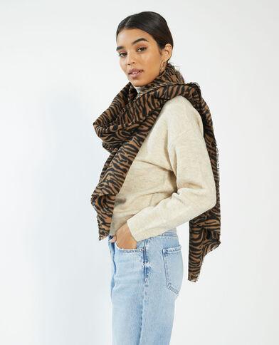 Sjaal van met mooie motieven bruin - Pimkie
