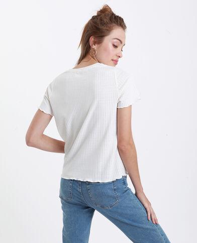 T-shirt van opengewerkt tricot gebroken wit