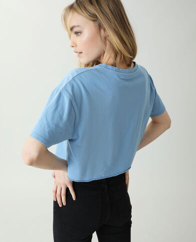 Cropped T-shirt lichtblauw - Pimkie