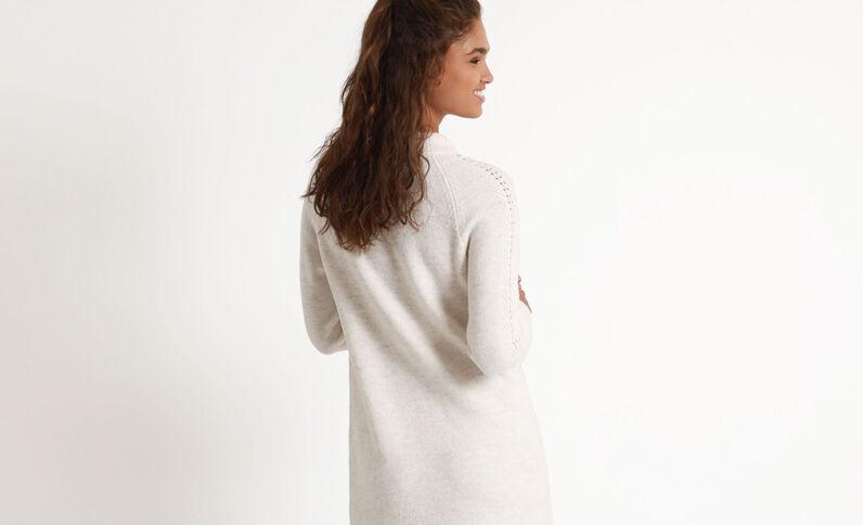 Lange trui-jurk ecru