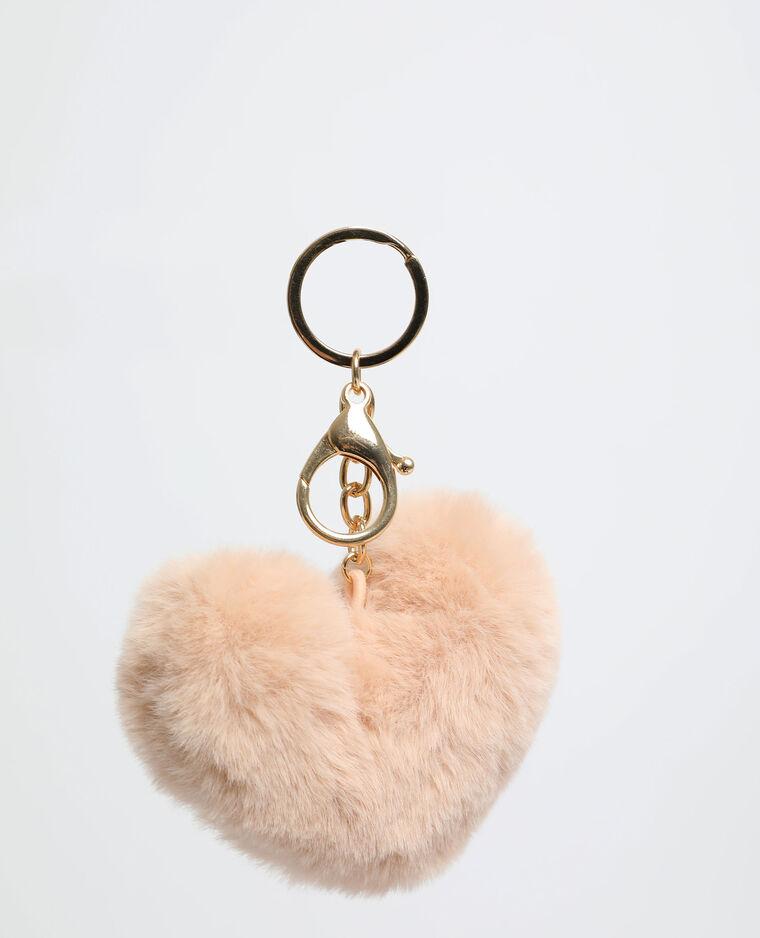 Porte-clés cœur beige