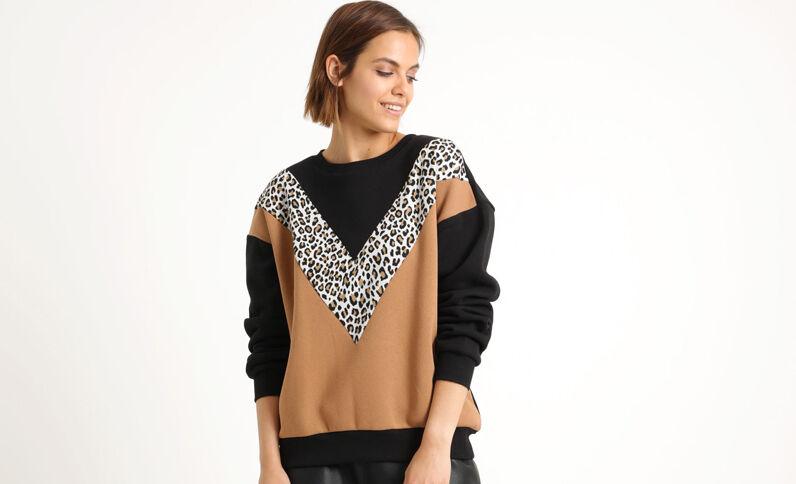 Sweater met motieven zwart