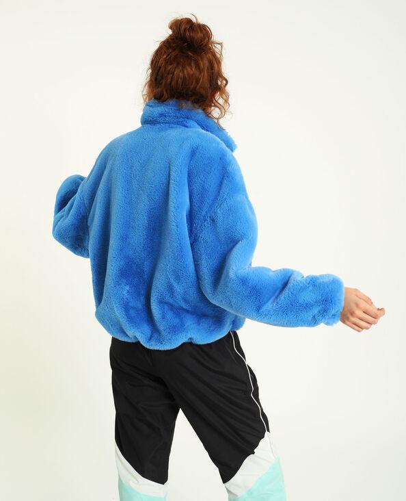 Blouson en fausse fourrure bleu