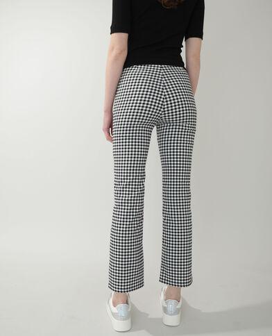 Flare broek met vichyprint zwart - Pimkie