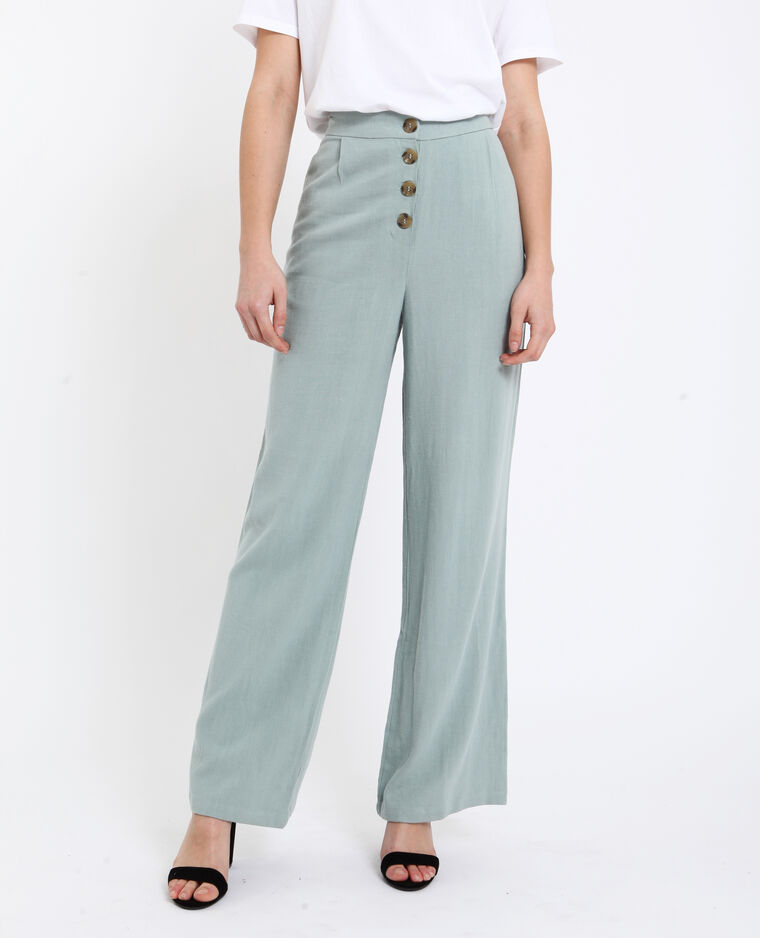 Pantalon lin vert d'eau