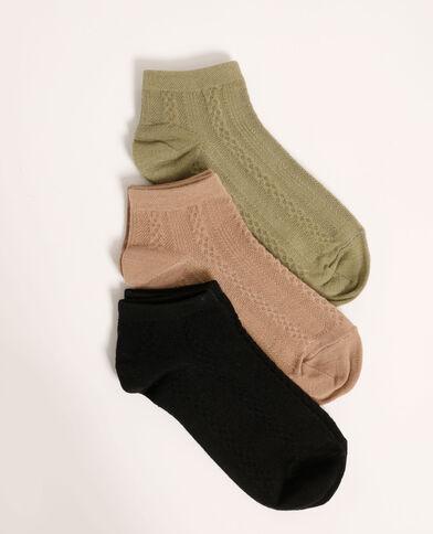 Set van 3 paar lage sokken met motieven zwart - Pimkie