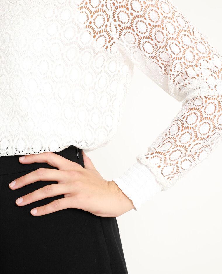 T-shirt en dentelle blanc cassé