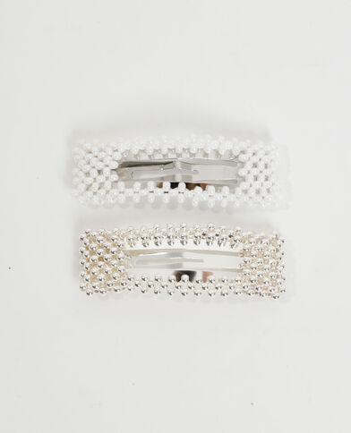 Set van 2 haarspeldjes met parels wit - Pimkie