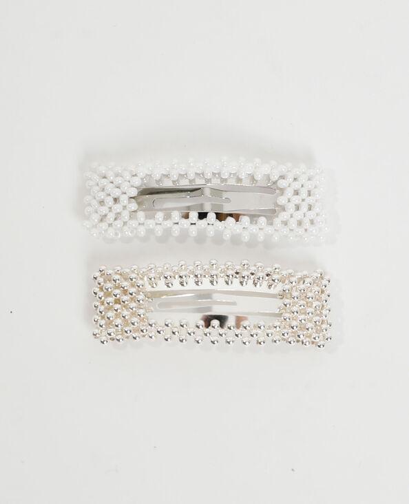 Lot de 2 barrettes perles blanc - Pimkie