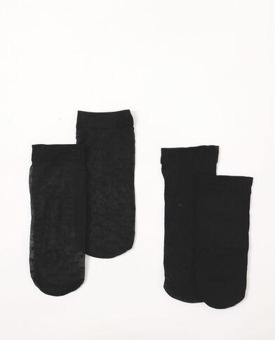 Set van 2 paar sokken van voile zwart