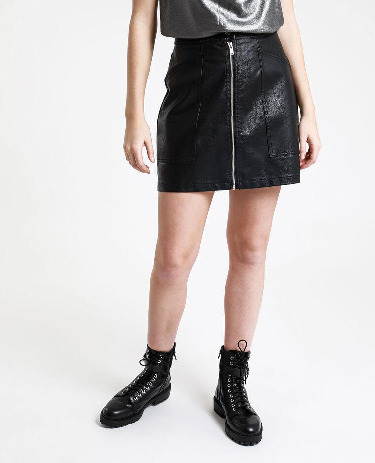Jupe en simil cuir zippée noir