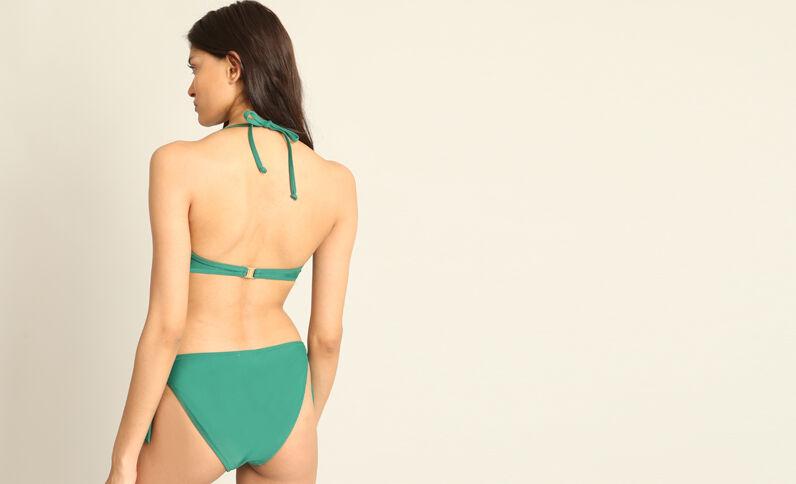 Bikinitop met ruche dennengroen