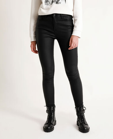 Skinny met coating zwart