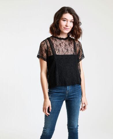 T-shirt van kant zwart