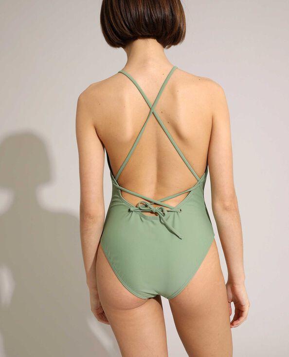 Maillot une pièce dos nu avec laçage vert clair