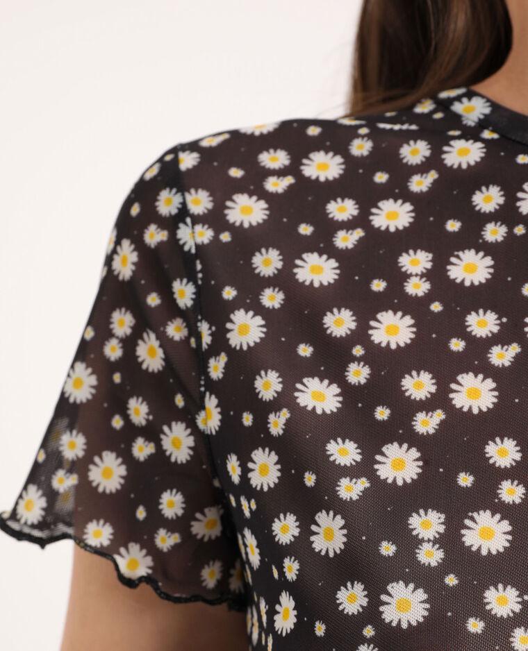 T-shirt à fleurs noir