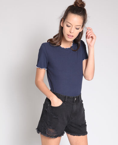 T-shirt met structuur marineblauw