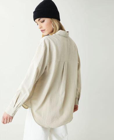 Oversized hemd geweven beige