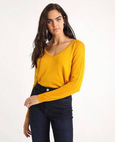 Pull fin à col V jaune