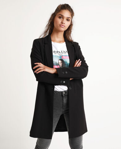 Soepelvallende jas zwart