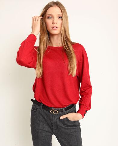 T-shirt met open rug rood