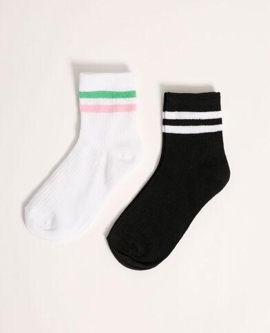 Lot de 2 paires de chaussettes rayées blanc - Pimkie