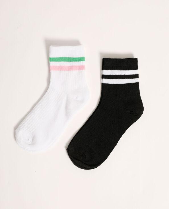 Set van 2 paar gestreepte sokken wit - Pimkie