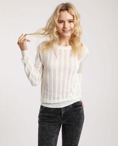 Trui van origineel tricot gebroken wit