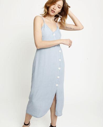 Lange jurk met knopen Lichtblauw