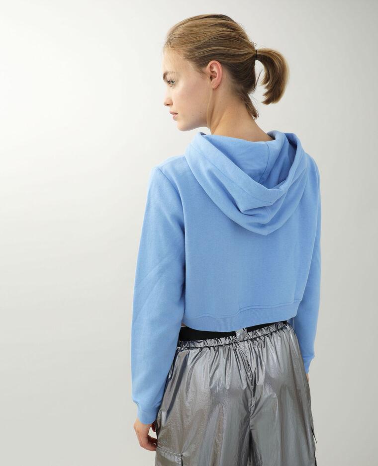 Cropped sweat zippé bleu