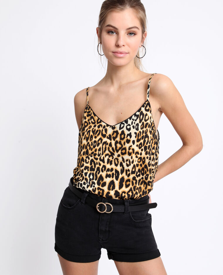 Topje met luipaardprint karamel