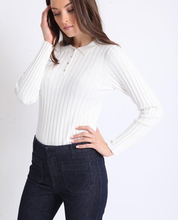 Poloshirt met lange mouwen wit