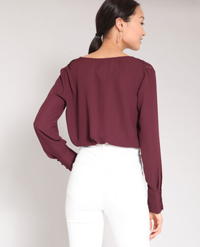 Blouse met V-hals bordeauxrood