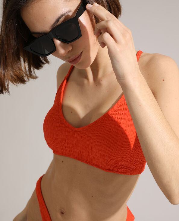 Haut de maillot brassière froncé orange - Pimkie