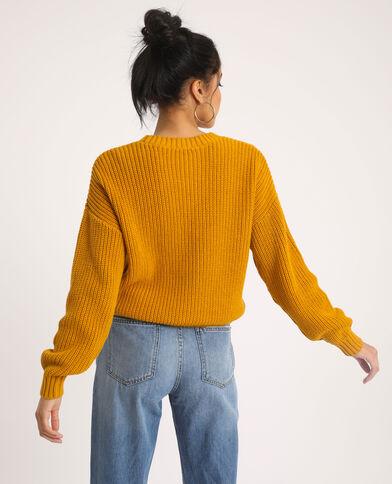 Trui met kabelpatroon geel