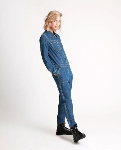 Combi-pantalon en jean bleu denim