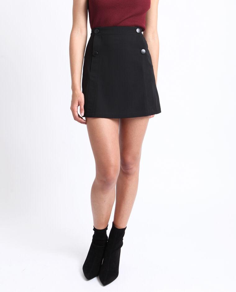 Mini jupe boutonnée noir