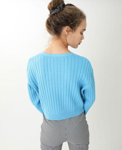Vest van tricot met platte ribbels blauw - Pimkie
