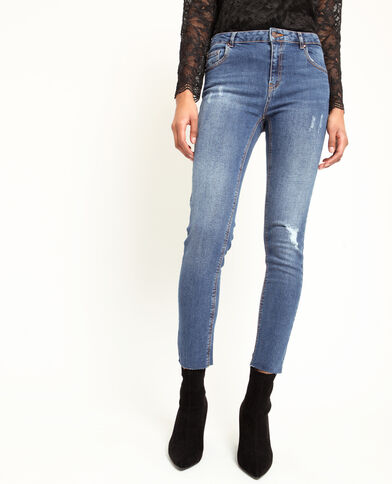 Destroyed skinny jeans donkerblauw